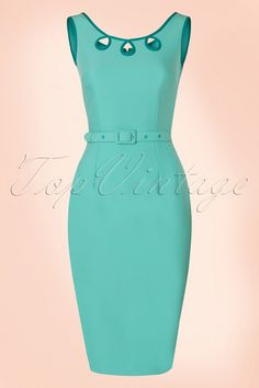 Feel like a real woman when wearing this classy 50s Karen Pencil Dress!Sexy yet sophisticated... super feminine cut and an elegant round neckline with teardrop cut outs for a playful vintage touch. The belt ensures a beautifully defined silhouette, oh la la!Made from a mint blue cotton blend with a light stretch which hugs your curves perfectly without marking any problem areas. Give a girl the right dress, and she can conquer the world ;-)   Fitted style Lined top Round n...