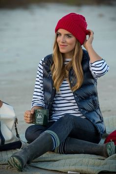 Navy J.Crew puffer vest and Saint James striped shirt