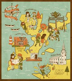 Illustrated map for the fictional Island of New Penzance from Moonrise Kingdom, by Ann Macarayan (http://annmakes.com)