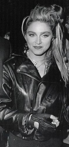 Madonna (an icon according to the 6 levels of celebrity hierarchy) wearing a trend discussed in chapter 2 - the leather biker jacket/look
