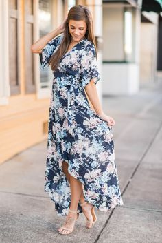 """Mix Of Emotions Dress, Navy""This dress is giving us all sorts of emotions! Joy, love, admiration, desire, but the greatest of these is definitely love! This floral maxi dress is stunning! #newarrivals #shopthemint"