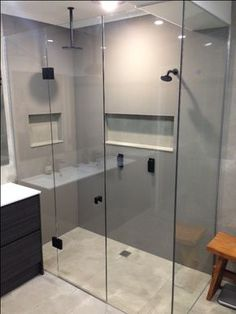 bathroom shower wall ideas design walls and more tile t Bathroom Shower Panels, Glass Shower Doors, Glass Doors, Corian Shower Walls, Bathtub Shower, Glass Walls, Bathroom Paneling, Frameless Shower, Diy Shower