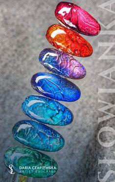 Special effect of nail art - created by Slowianka Nail Trends Cat Eye Nails Polish, Bubble Nails, 3d Nail Designs, Nail Mania, Acryl Nails, Space Nails, Vintage Nails, Pedicure Nails, Rhinestone Nails