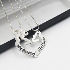 Her Buck His Doe His & Her Couples Deer Heart Necklace Set