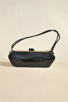 Vintage Black Patent Leather Bag, Wrist Purse, Handbag, Evening bag, Lady Purse door AllVintageBags op Etsy