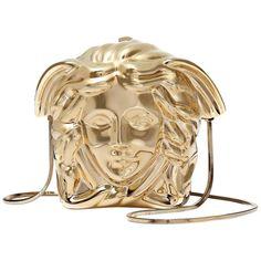 e4c85e28f066fb New Versace Medusa Gold Metal Shoulder Bag Clutch Versace Purses, Versace  Handbags, Fashion Handbags