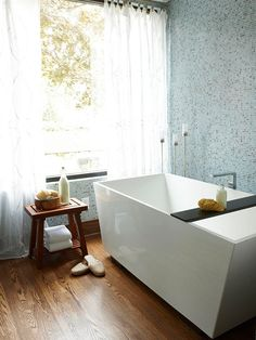 Bathroom Interior Design Ideas - modern angular tub + wall of glass mosaic tile = gorgeous bathroom - gorgeous tub Dream Bathrooms, Beautiful Bathrooms, Modern Bathroom, Modern Bathtub, Tiled Bathrooms, Concrete Bathroom, White Bathrooms, Luxury Bathrooms, Master Bathrooms