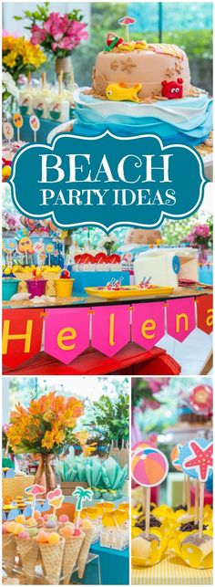 Loving this colorful, fun beach birthday party! See more party ideas at CatchMyParty.com!