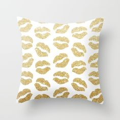 Gold Glitter Lips Throw Pillow by A Little Leafy