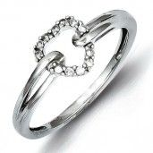 Sterling Silver Rhodium Plated Diamond Heart Ring -  could be used as an engagement ring?