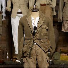 Ralph Lauren safari men clothing fall 2013 cardigan army od green work in faded Henley layers khaki pockets military
