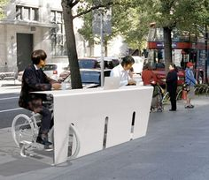 Bike racks where you can have an espresso while sitting on your bike-genius...