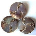 3 Antique Buttons Abalone & Rhinestone Pinwheel Design