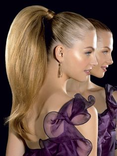 How to Get the Look: Step 1: Add a quarter-size amount of shine serum all over to make your hair look glossy. Step 2: Brush hair into a high pony; secure with an elastic. Wrap a 1-inch-wide piece of hair from the pony around the base, then pin. Step 3: Tease your pony all over, then apply hairspray to smooth down stray hairs.   - Seventeen.com