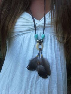 Handmade, Boho, Real , Wild Turkey, Suede, feather Necklace, Turquoise, Silver , Beads, Native American, Indian, Dreamcatcher, Free Bird