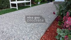Exposed Aggregate Concrete By Nice Guy Concrete Exposed Aggregate Concrete, Outdoor Stuff, Outdoor Decor, Concrete Contractor, Reno Ideas, A Good Man, Stepping Stones, Sidewalk, Guy