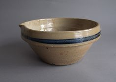Antique spouted stoneware bowl, North America