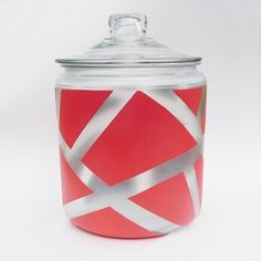 Check out my newest counter-top addition! A little bit of tape & spray paint & you can get on it, too. Revamp that tired, plain cookie jar!