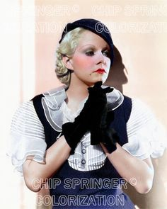 JEAN HARLOW Wearing Hat and Gloves | 8x10 COLOR Photo by CHIP SPRINGER. Featured Ebay Listing. Please visit my Ebay Store, Legends of the Silver Screen, at http://legendsofthesilverscreen.com to see the current listings of your favorite Stars now in glorious color! Thanks for looking and check out my Youtube videos at https://www.youtube.com/channel/UCyX926rA5x4seARq5WC8_0w