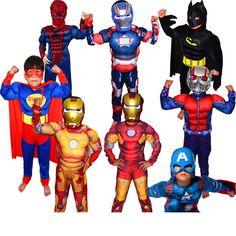 99633ae4e03e3 Christmas Boys Muscle Super Hero Captain America Costume SpiderMan Batman  Hulk Avengers Costumes Cosplay for Kids Children Boy-in Boys Costumes from  Novelty ...