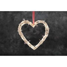 Pre Lit White Twig Heart - Decorations - Notcutts