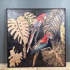 Parrot Painting, Pet Birds, Rooster, Animals, Design, Parrots, Art, Leaves, Shop