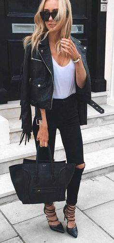 cute casual outfit jacket + top + bag + rips
