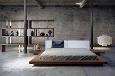 Leather Platform Bed, Modern Platform Bed, Platform Bedroom, Bed Platform, Platform Bed Designs, Home Decor Bedroom, Bedroom Furniture, Bedroom Ideas, Master Bedroom
