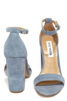 The Steve Madden Carrson Blue Suede Leather Ankle Strap Heels are on fire with a simple design that is a total knockout! Soft genuine suede shapes a minimal toe strap and adjustable ankle strap (with gold buckle).