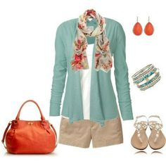 Pretty color for the sweater & scarf combo. I would not wear those short shorts, however.