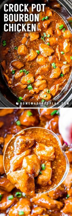 Crock Pot Bourbon Chicken! This classic style recipe for bourbon chicken is an easy, crowd-pleasing meal that's made right in your crock pot. Lots of flavors come together to create this dish but you can easily adjust the amounts to suit your taste!   HomemadeHooplah.com