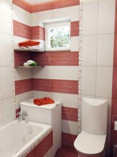 Red white stripe bathroom