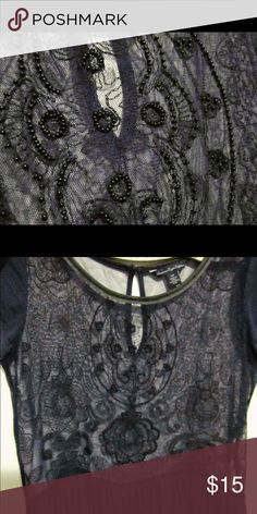 Beaded Dress Shirt Very beautiful, intricate bead work on a soft dark navy fabric. American Eagle Outfitters Tops Blouses