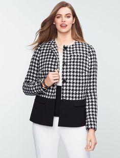 Talbots - Houndstooth Colorblocked Jacket