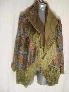 Romeo Gigli for Callaghan Vtg Green w/Multi Emb FRINGED Silk Jacket WEARABLE AR #RomeoGigli #Wrap