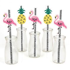 Flamingo - Party Like a Pineapple - Party Straw Decor with Chevron Paper Straws… Your guests can use these paper straws to drink from and enjoy your party with. You can also put them on cupcakes for decorations. www.bigdotofhappiness.com #StrawDecor