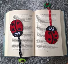 segnalibro in feltro a forma di coccinella bookmark Quilling, Felt Crafts Diy, Crochet Bookmarks, Rest, Sewing Tutorials, Projects To Try, Creations, Wool, Image