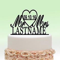 Personalized Wedding Cake Topper Monogram Last Name Surname Decoration Anniversary Gift (Design 5) - http://partythings.com/personalized-wedding-cake-topper-monogram-last-name-surname-decoration-anniversary-gift-design-5.html
