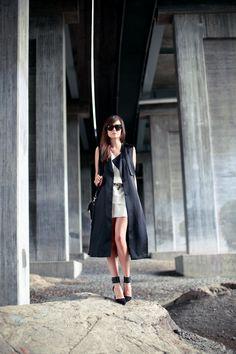 Acne dress, H & M sleeveless trench, Zara shoes, Proenza Schouler bag, Celine sunnies