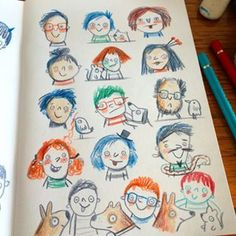 Nothing wrong with blue hair. #sketchbook #sketch #doodle #drawing #pencil #fabercastell #polychromos #goofy #faces #kidlitart © Linzie Hunter