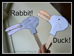 Acting out the story of a picture books is a fun way to connect reading and movement. Craft stick puppets go well with Duck! Rabbit! by Amy Rosenthal