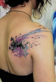 dandelion watercolor tattoo