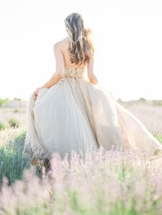 Dreaming in a Lavender Field Wedding Inspiration - Style Me Pretty Tulle Wedding Gown, Tulle Gown, Long Wedding Dresses, Bridal Dresses, Bridesmaid Dresses, Field Wedding, Wedding Blog, Wedding Styles, Wedding Ideas