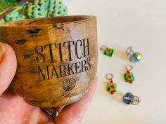 A little place to put all those stitch markers so they don't get lost in the couch. Little Stitch, Stitch Markers, Houston, Lost, Couch, Tableware, Design, Settee, Dinnerware