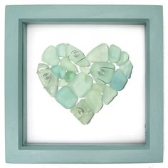Framed collage using beautiful pieces of local Scottish sea glass to create a little love heart mosaic. The sea glass washes up on the beautiful beaches in Anstruther in the East Neuk of Fife in Scotland. Sea Glass Mosaic, Sea Glass Art, Sea Glass Jewelry, Sea Glass Beach, Sea Glass Display, Sea Glass Decor, Resin Jewelry, Mosaic Art, Sea Glass Crafts