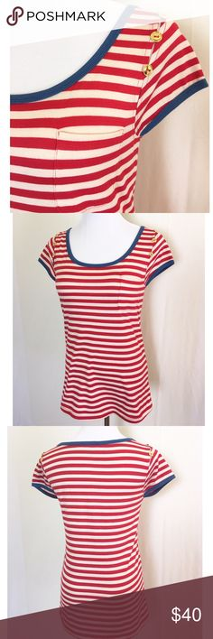 NWOT nautical tee by THML Cutest t shirt ever!  Red and off white stripes with blue trim at neckline and sleeves. Gold buttons at shoulder cut outs and a pocket on the left. New without tags. Anthropologie Tops