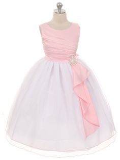 Pink Surplice Double Layer Girl Dress (Sizes 4-14 in 4 Colors)