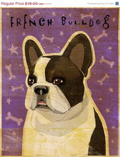 20 OFF SALE French Bulldog Art White and Brindle by johnwgolden, $14.40