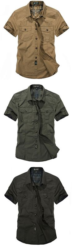 US$28.02 AFSJEEP Outdoor Sport Cotton Breathable Multi Pockets Cargo Short Sleeve Dress Shirts for Men