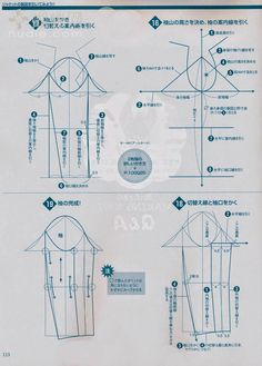 Japanese book and handicrafts - style book 2011 spring Coat Patterns, Dress Sewing Patterns, Clothing Patterns, Pattern Cutting, Pattern Making, Sewing Sleeves, Modelista, Pattern Drafting, Fashion Sewing